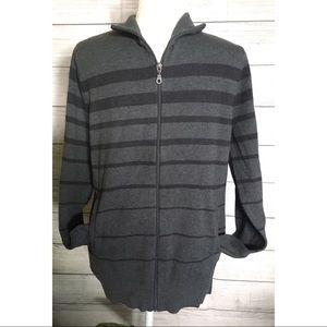 Apt. 9 Striped Zip Up Sweater